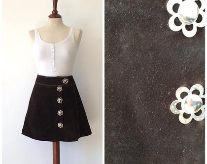 חצאית וינטג' חצאית עור חצאית חומה חצאית מיני
