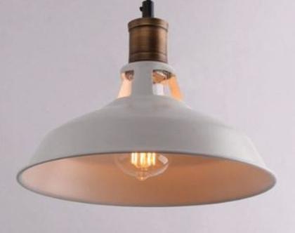 מנורה תלויה אהיל מתכתי לבן מחורר בסגנון ויטאג' (מס 21 )