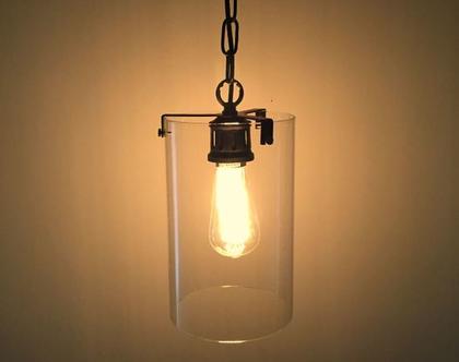 מנורת צילינדר זכוכית תלוית שרשרת שחורה בסגנון LOFT