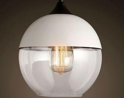 גוף תאורה תלוי זכוכית עגולה משולבת צבע בסגנון רטרו (מס14)