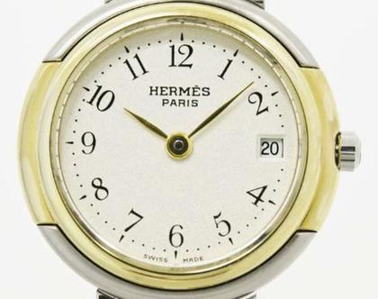 הרמס HERMES שעון כסוף מוזהב לנשים