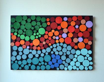 תמונה צבעונית, עיצוב בעץ, עבודת אמנות מקורית