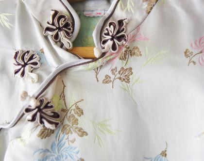 שמלה סינית וינטג' זהב פסטל | שמלה סינית וינטג' מקורית סיקסטיז