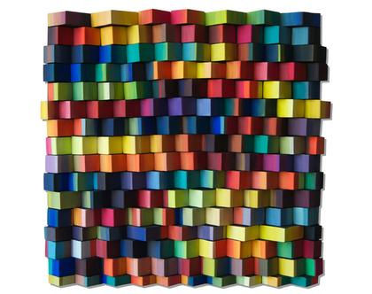 תמונה צבעונית | עיצוב בעץ | עיצוב צבעוני לסלון | פסיפס עץ צבעוני |