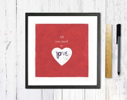 כל מה שצריך זה אהבה- תמונה על נייר