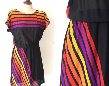שמלת וינטג׳ שמלה שחורה שמלת פסים צבעונית