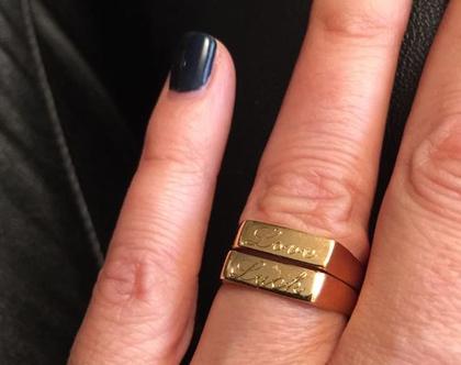 טבעת חריטה | טבעת צרה | גולדפילד | טבעת שמות