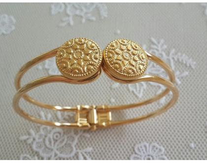 צמיד זהב קליפס רטרו - צמיד מוזהב לאשה עם עיטורים