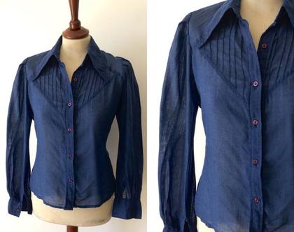 חולצה מכופתרת חולצה כחולה חולצת וינטג׳ חולצות