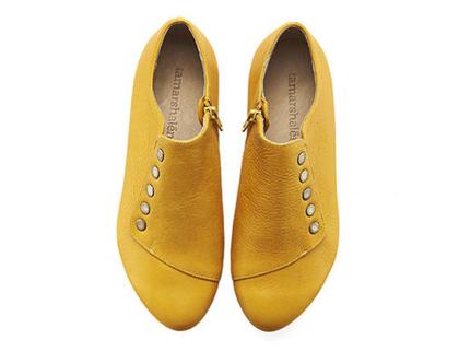 נעלי עור שטוחות- דגם גרייס צהוב