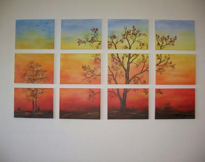 """תמונה מחולקת """"עצים בשקיעה"""" לסלון או פינת אוכל"""