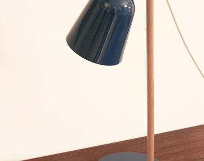 מנורת לילה טורקיז, מנורת שולחן מעץ, מנורת שולחן רטרו, מנורת רטרו טורקיז