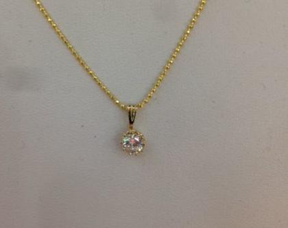 שרשרת עדינה תליון קטן דמוי יהלום מגולדפילד