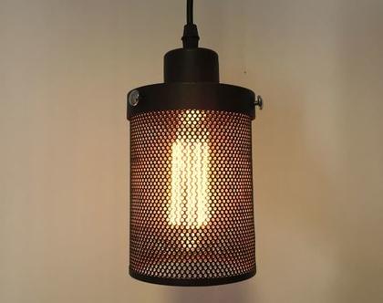 מנורת רשת מתכתית תלויה במראה תעשייתי ( מס 29 )