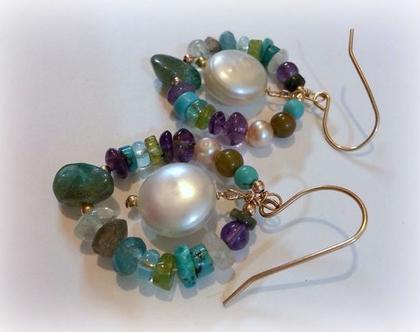 עגילי זהב עם פנינים ואבני חן בעיצוב מיוחד , עגילי זהב טורקיז פנינה ועוד , מתנות מקוריות לאישה , אפרת שיפרין