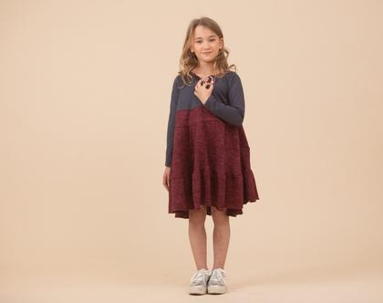 שמלת קומות לילדה , נטלי משולבת