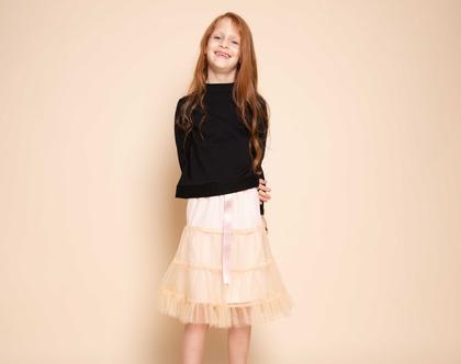 חצאית טול בורוד ניוד לילדה , חצאית קומות טול