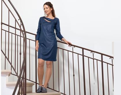 שמלת מיני כחולה עם שרוולים