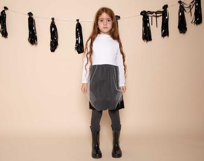 שמלת אירועים לילדות, ורוניק טול ,שחור-לבן