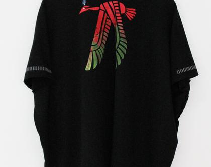 סווטשרט שחור I סווטשרט פתוח עם דפוס ציפור אש