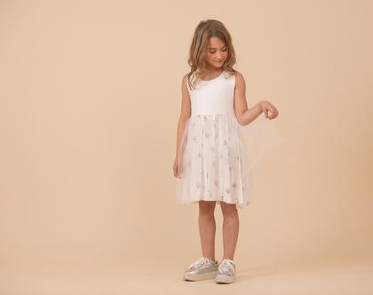 שמלת ולרי חגיגית משולבת טול לבן
