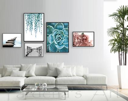 קולאג אקלקטי -  עיצור מקורי | סט תמונות לעיצוב הבית | תמונות לסלון | תמונות מיוחדות לבית | תמונות בצבע טורקיז
