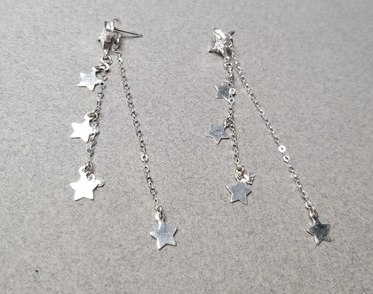 עגילי כסף 925 ארוכים בשילוב כוכבים תלויים, עגילים עדינים, עגילים נופלים