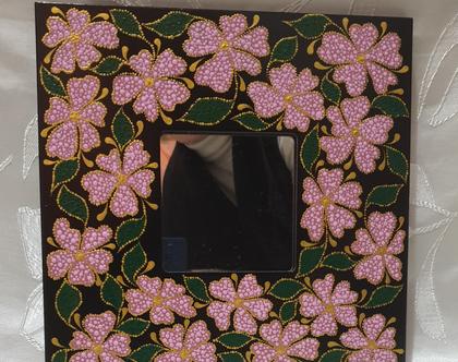 """מראה מעוצבת 26 על 26 סמ """"פרחים ורודים"""""""