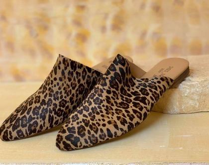 כפכפים מרוקאים, נעליים שטוחות נוחות, נעליים מנומרות, כפכפים מנומרים שטוחים