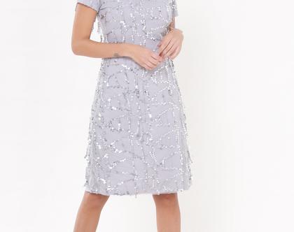 שמלת דונה אפור כסוף