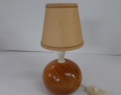 מנורת רגל קטנה מעץ:מנורת שידה כדורית:מנורה שולחנית וינטאג: