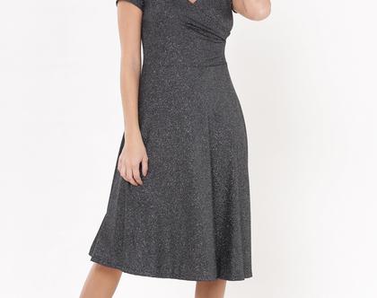 שמלת אנה אפור כהה