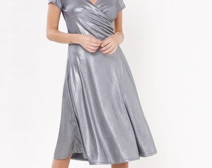 שמלת אנה אפור שרוול
