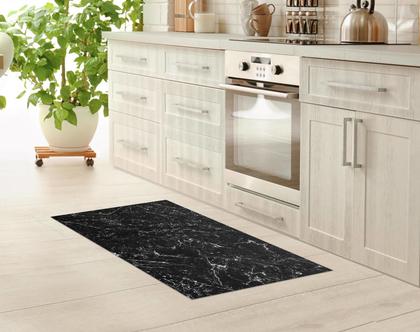שטיח לינולאום מעוצב שיש שחור עם עורקים לבנים | שטיח פי.וי.סי PVC | שטיח לבית | שטיח למטבח שטיח לחדר