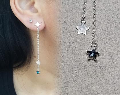 עגילי שני צדדים כוכב נופלי מכסף 925 משובץ זרקון כחול