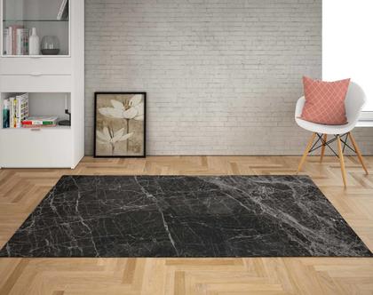 שטיח פי וי סי מעוצב שיש שחור   שטיח פי.וי.סי PVC   שטיח לבית   שטיח למטבח   שטיח לחדר