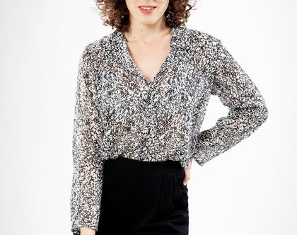 חולצת מאיה הדפס שחור לבן