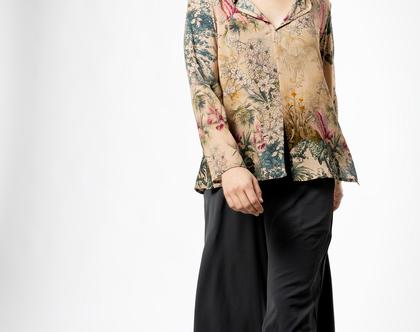 חולצת מאיה הדפס בז' צרפתי