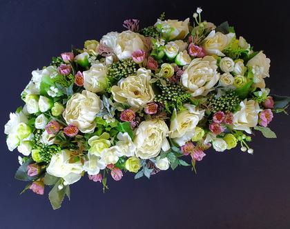 סידור פרחים מלאכותיים | סידור פרחי משי | פרחי משי מעוצבים | קישוט לבית | מתנה לחג | זר לבן | מלאכותי | פרחים לחג