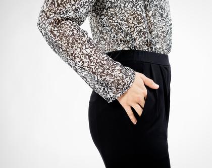 מכנס קפלים שחור