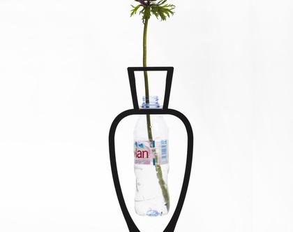 אגרטל מתכת שחור לפרחים, מחזור בקבוקים, מתנה אקולוגית, וזה לפרחים, ואזה לפרחים