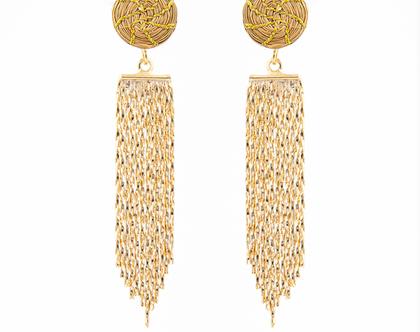 עגילים מזהב צמחי ו24 קרט ציפוי זהב, ארוכים, מיחודים ואלגנטיים!