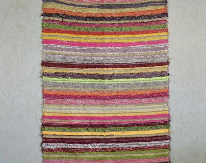 שטיח פסים מחוטי כותנה ממוחזרים