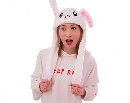כובע ארנבון עם אוזנים זזות