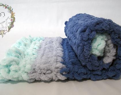שמיכת תינוק בסריגת יד - כחול, ירוק, אפור