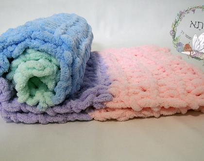 שמיכת תינוק בסריגת יד - קשת בענן - ורוד, סגול, כחול, ירוק