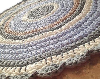 שטיח לחדר ילדים, שטיח עגול סרוג שטיח בגוונים בהירים ורכים של תכלת, שמנת, שטיח לחדר של בן