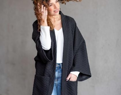 מעיל נשים קל, מעיל קימונו, קימונו עם כיסים, קרדיגן לנשים, מעיל אוברסייז, קרדיגן לחורף, עליונית קימונו, עליונית אוברסייז שחורה6011