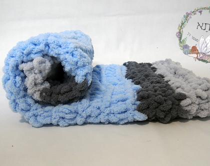 שמיכת תינוק בסריגת יד - כחול, גווני אפור