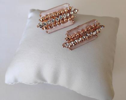 עגילי קליפס מלבנים לאירוע,עגילי זהב אדום ללא חורים,עגילים זהובים וקריסטלים.